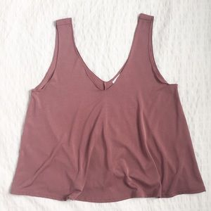 Abound double v-neck tank top in dusty rose